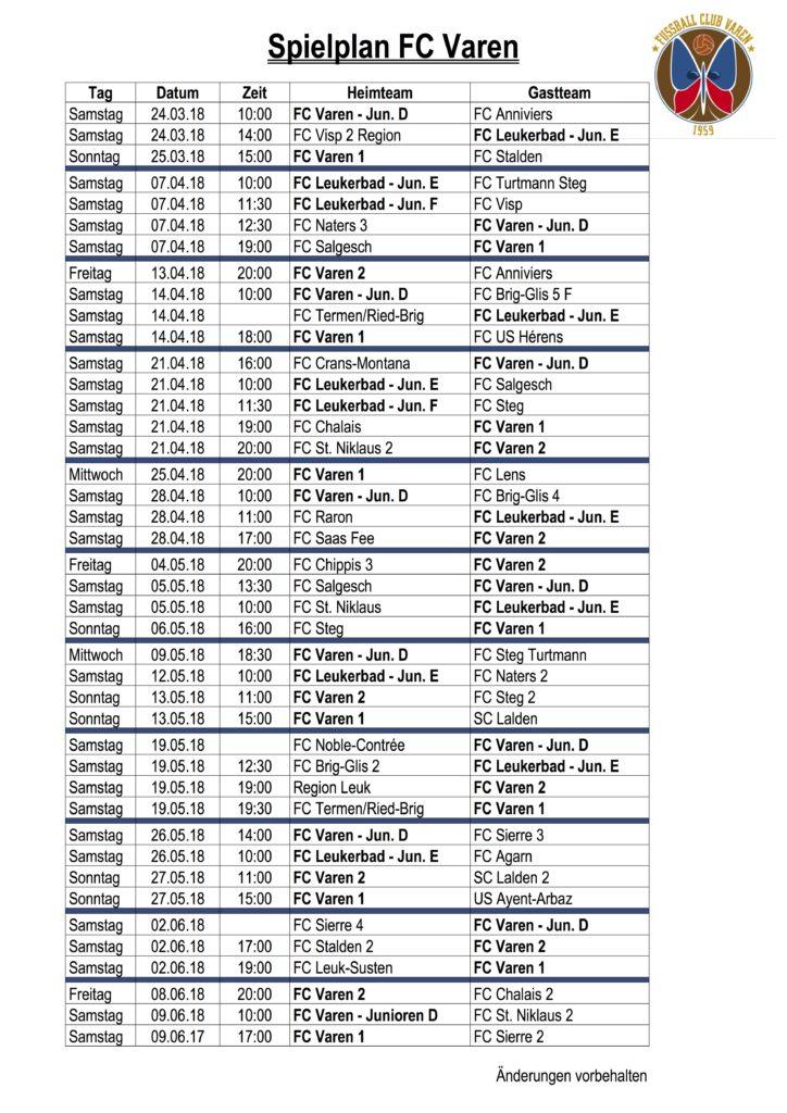Spielplan FC Varen